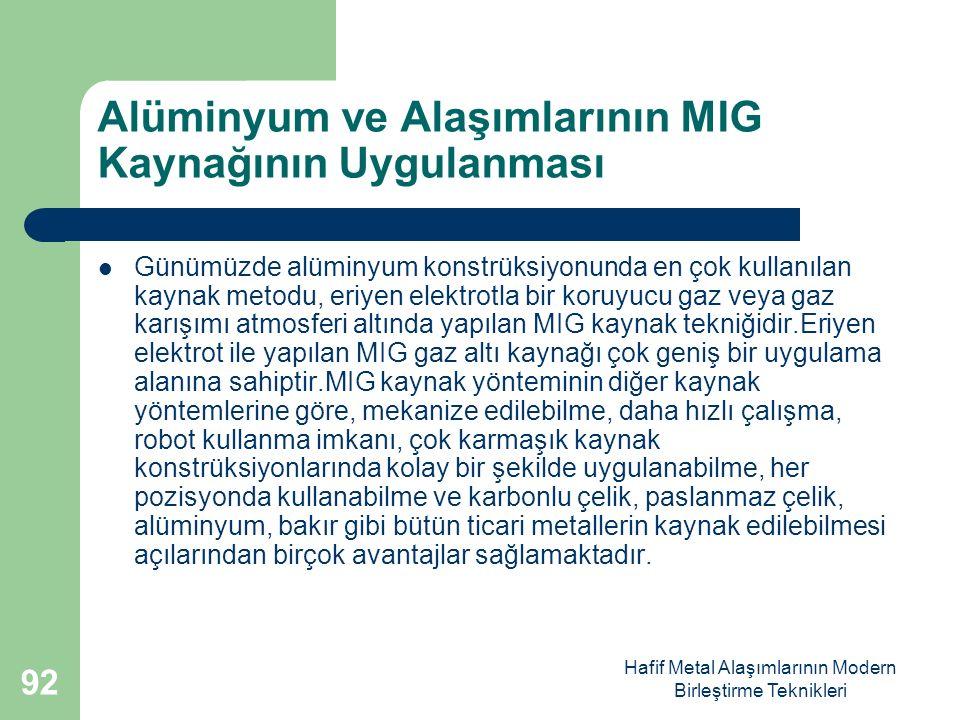Alüminyum ve Alaşımlarının MIG Kaynağının Uygulanması