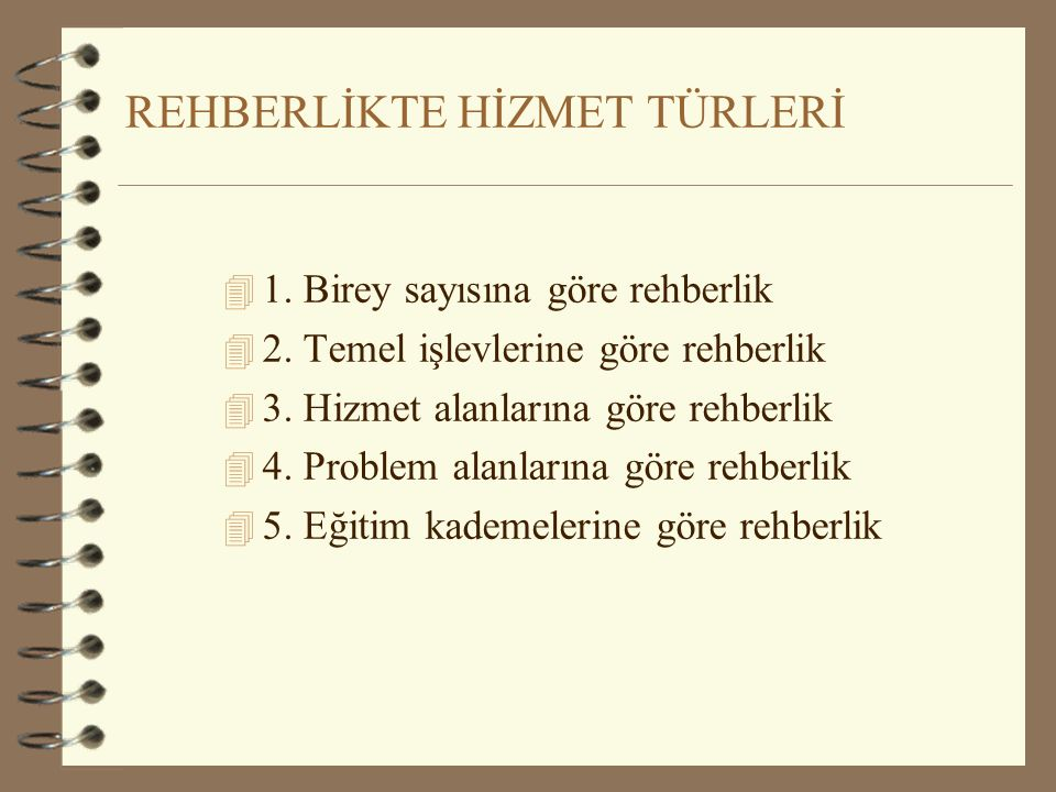 REHBERLİKTE HİZMET TÜRLERİ