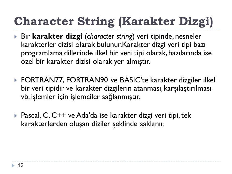 Character String (Karakter Dizgi)