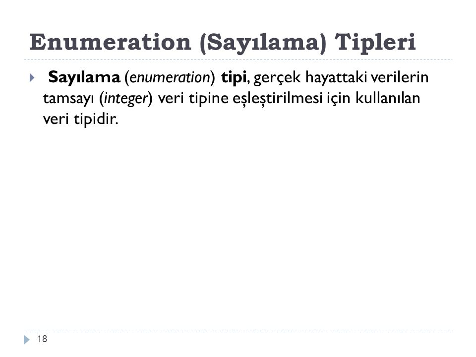 Enumeration (Sayılama) Tipleri