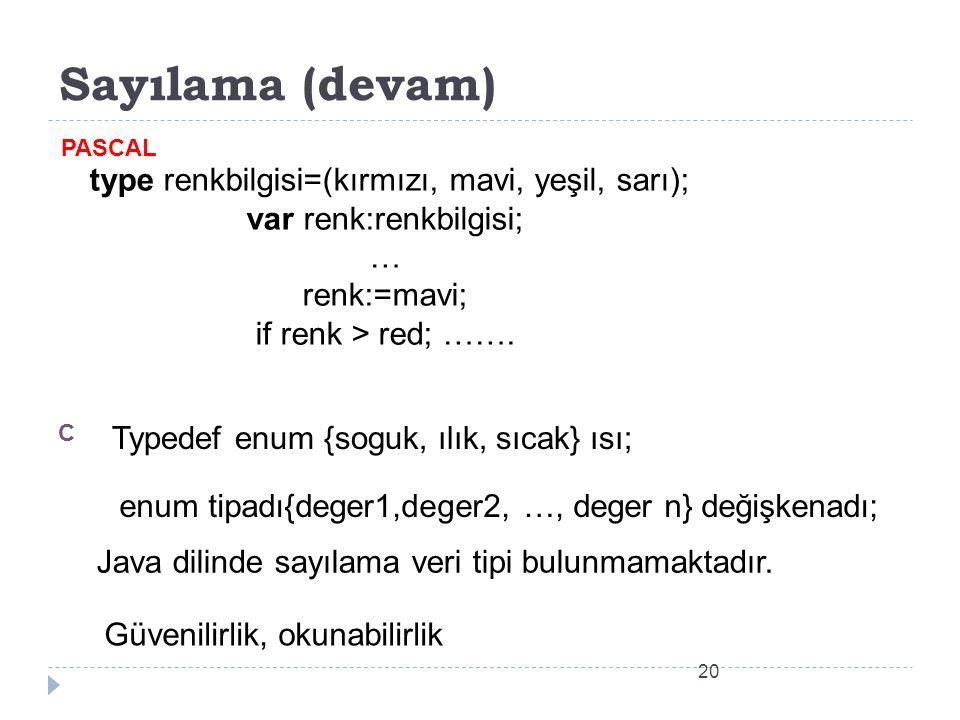 type renkbilgisi=(kırmızı, mavi, yeşil, sarı); var renk:renkbilgisi;