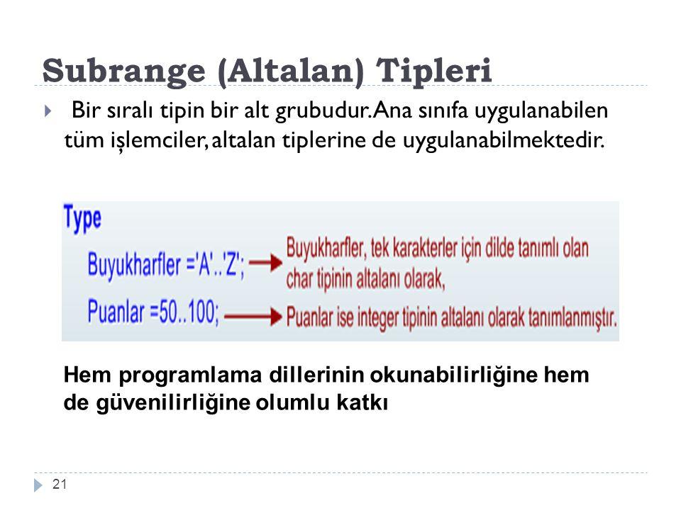 Subrange (Altalan) Tipleri