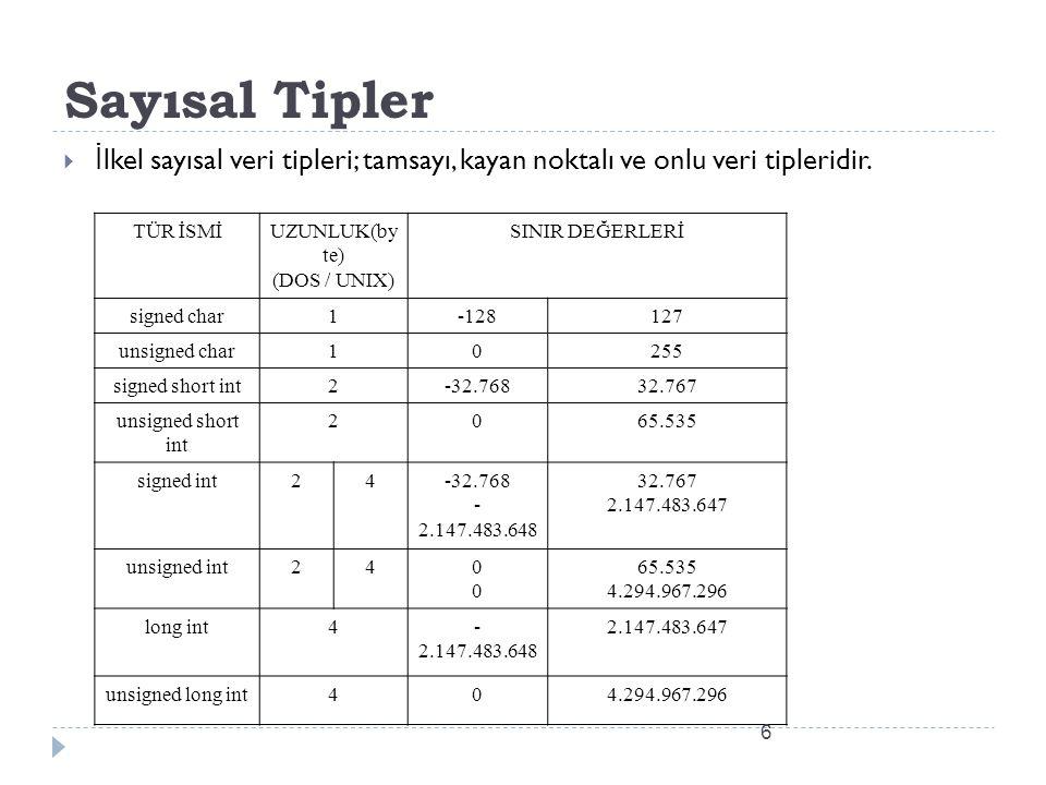 Sayısal Tipler İlkel sayısal veri tipleri; tamsayı, kayan noktalı ve onlu veri tipleridir. TÜR İSMİ.