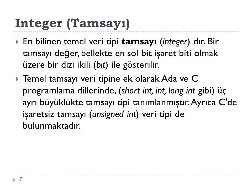 Integer (Tamsayı)
