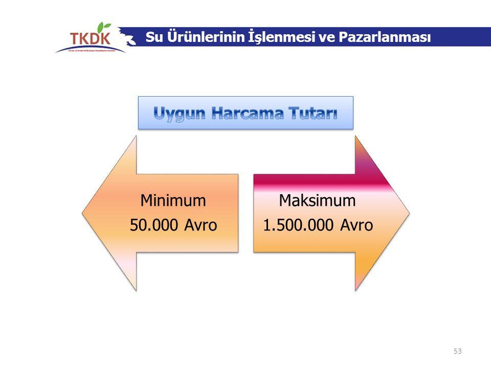 Uygun Harcama Tutarı Minimum 50.000 Avro Maksimum 1.500.000 Avro