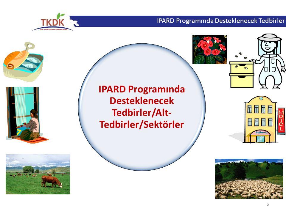IPARD Programında Desteklenecek Tedbirler/Alt-Tedbirler/Sektörler