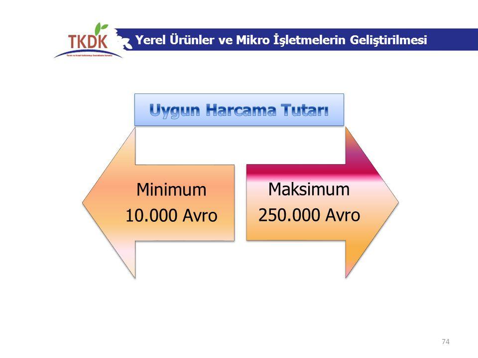 Minimum 10.000 Avro Maksimum 250.000 Avro Uygun Harcama Tutarı
