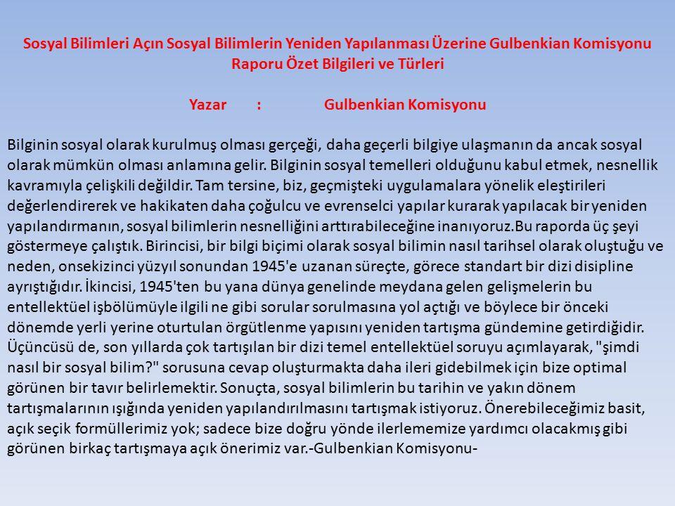 Yazar : Gulbenkian Komisyonu