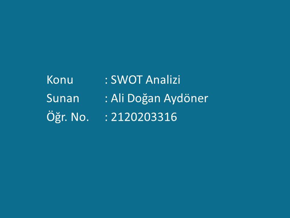 Konu : SWOT Analizi Sunan : Ali Doğan Aydöner Öğr. No. : 2120203316