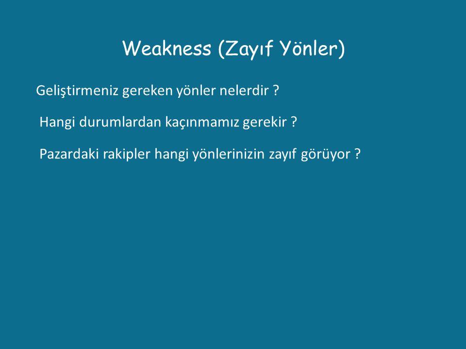Weakness (Zayıf Yönler)