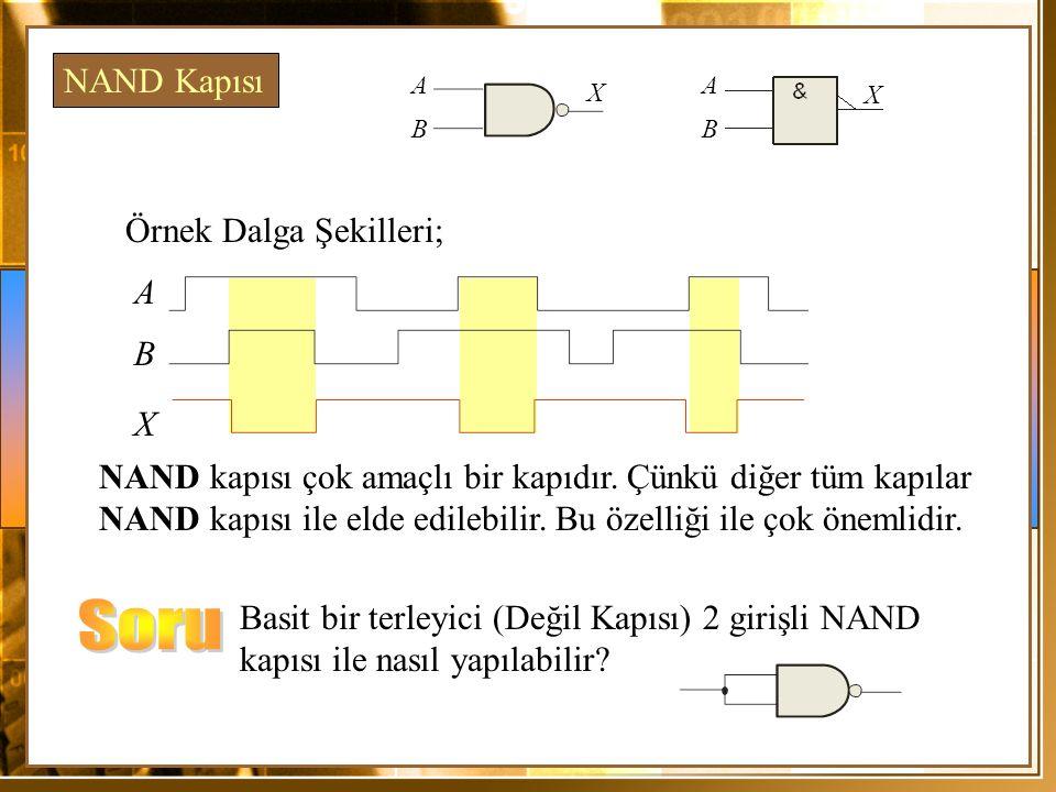 Soru NAND Kapısı Örnek Dalga Şekilleri; A B X