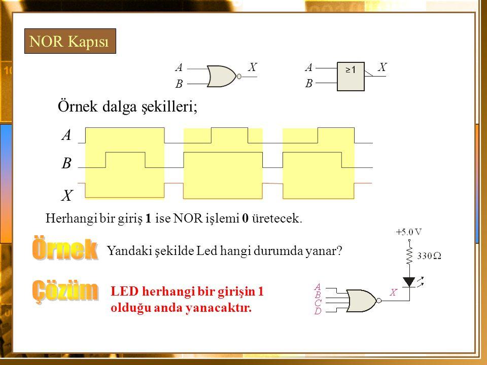 Örnek Çözüm NOR Kapısı Örnek dalga şekilleri; A B X