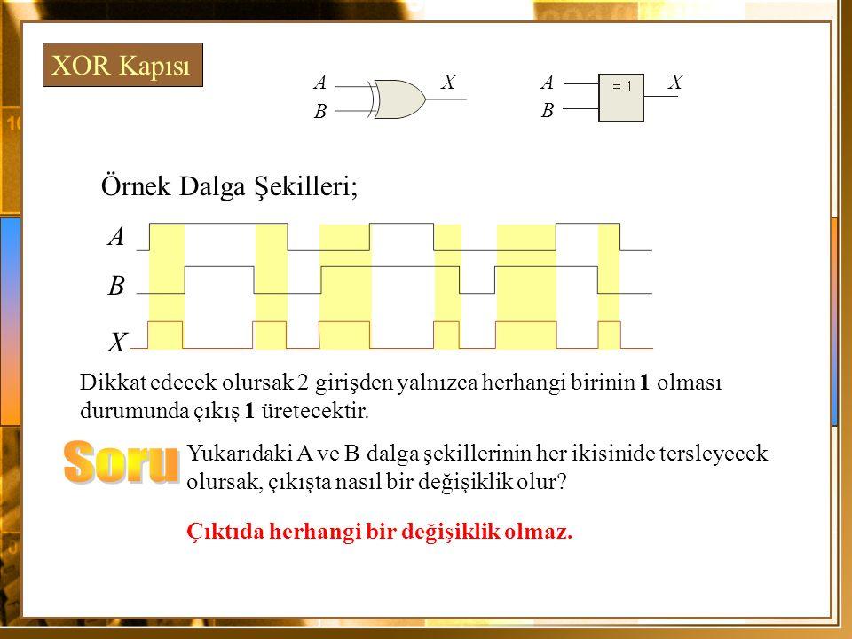 Soru XOR Kapısı Örnek Dalga Şekilleri; A B X