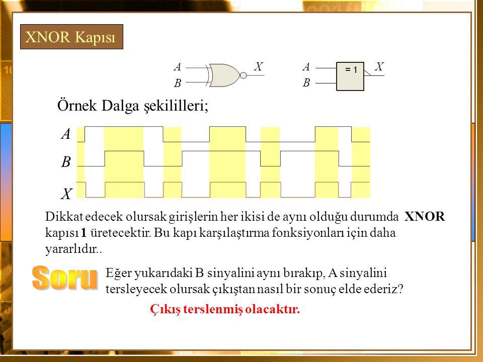 Soru XNOR Kapısı Örnek Dalga şekililleri; A B X