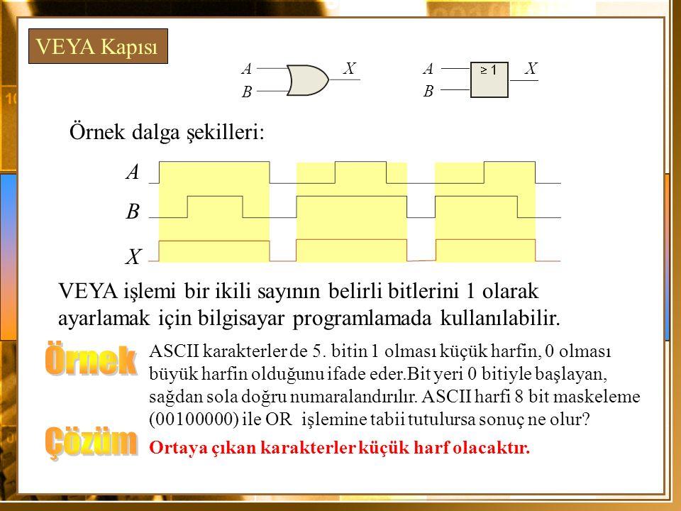 Örnek Çözüm VEYA Kapısı Örnek dalga şekilleri: A B X