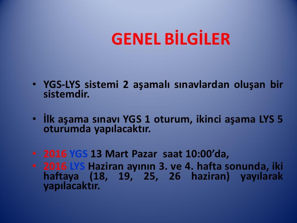 GENEL BİLGİLER YGS-LYS sistemi 2 aşamalı sınavlardan oluşan bir sistemdir. İlk aşama sınavı YGS 1 oturum, ikinci aşama LYS 5 oturumda yapılacaktır.