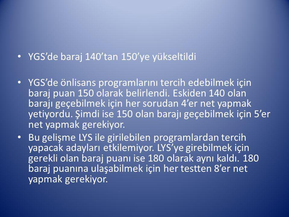 YGS'de baraj 140'tan 150'ye yükseltildi