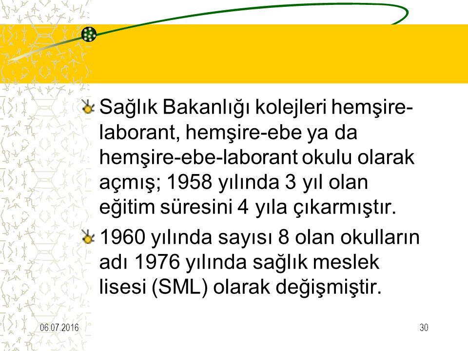 Sağlık Bakanlığı kolejleri hemşire-laborant, hemşire-ebe ya da hemşire-ebe-laborant okulu olarak açmış; 1958 yılında 3 yıl olan eğitim süresini 4 yıla çıkarmıştır.