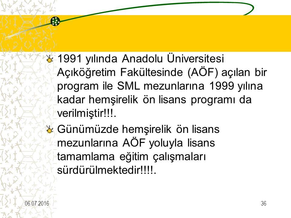 1991 yılında Anadolu Üniversitesi Açıköğretim Fakültesinde (AÖF) açılan bir program ile SML mezunlarına 1999 yılına kadar hemşirelik ön lisans programı da verilmiştir!!!.