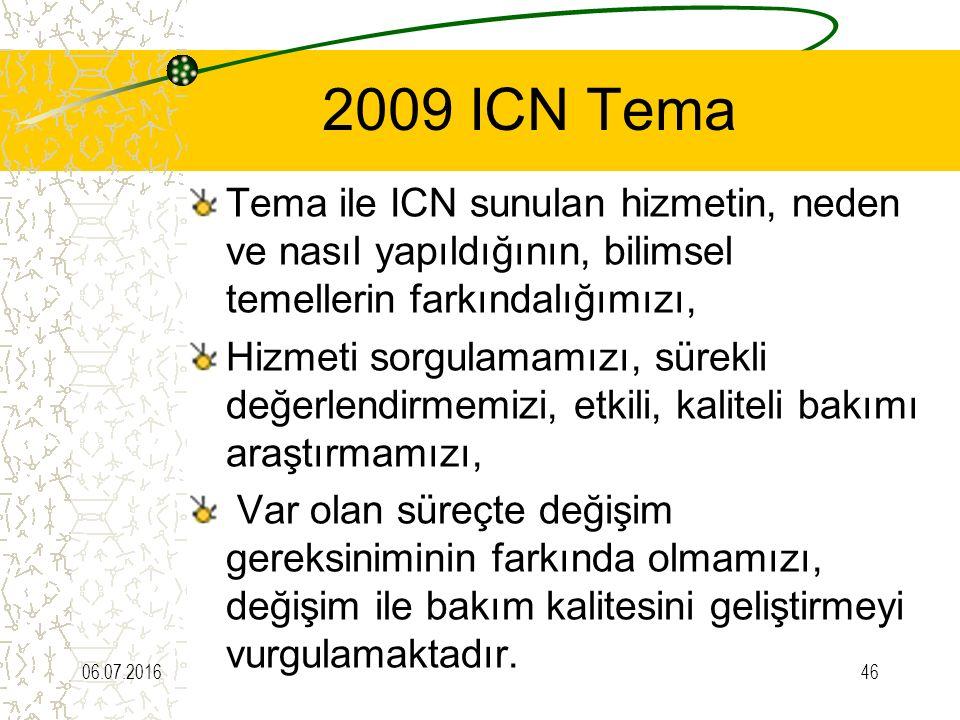 2009 ICN Tema Tema ile ICN sunulan hizmetin, neden ve nasıl yapıldığının, bilimsel temellerin farkındalığımızı,