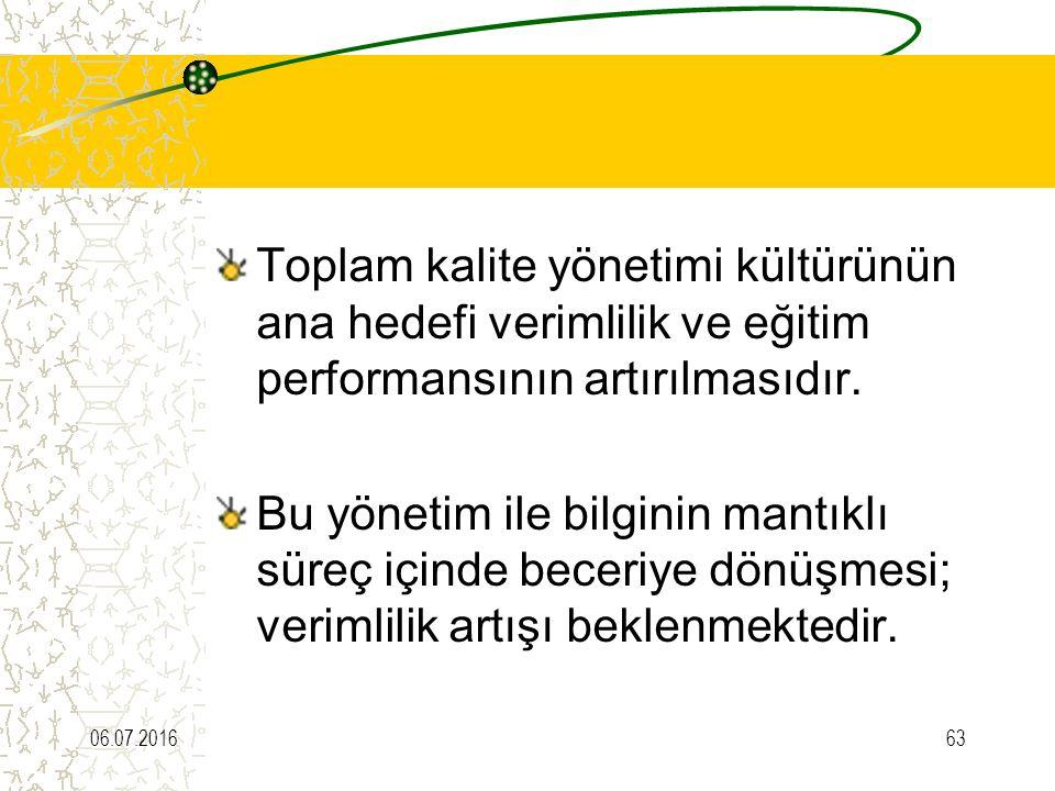 Toplam kalite yönetimi kültürünün ana hedefi verimlilik ve eğitim performansının artırılmasıdır.