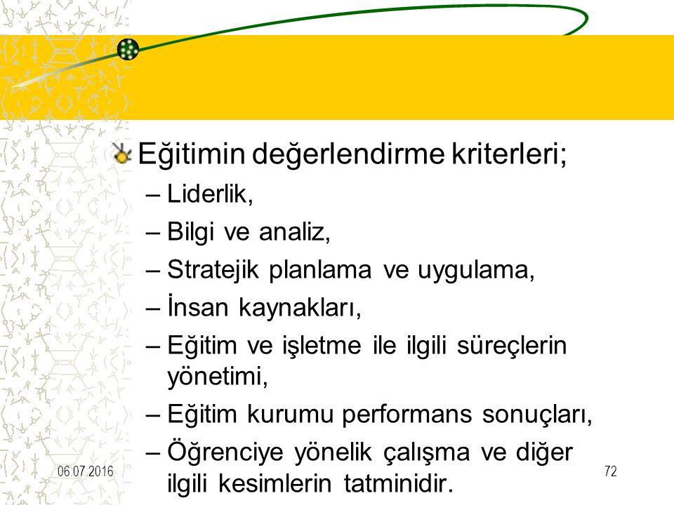 Eğitimin değerlendirme kriterleri;