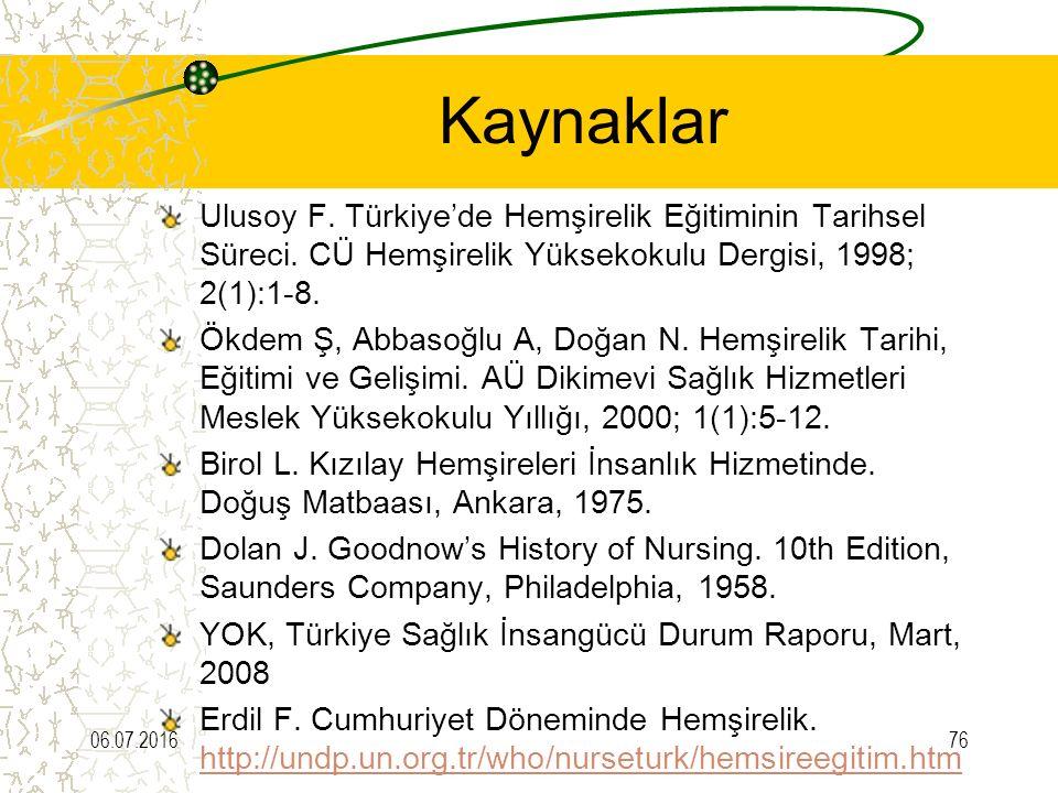 Kaynaklar Ulusoy F. Türkiye'de Hemşirelik Eğitiminin Tarihsel Süreci. CÜ Hemşirelik Yüksekokulu Dergisi, 1998; 2(1):1-8.