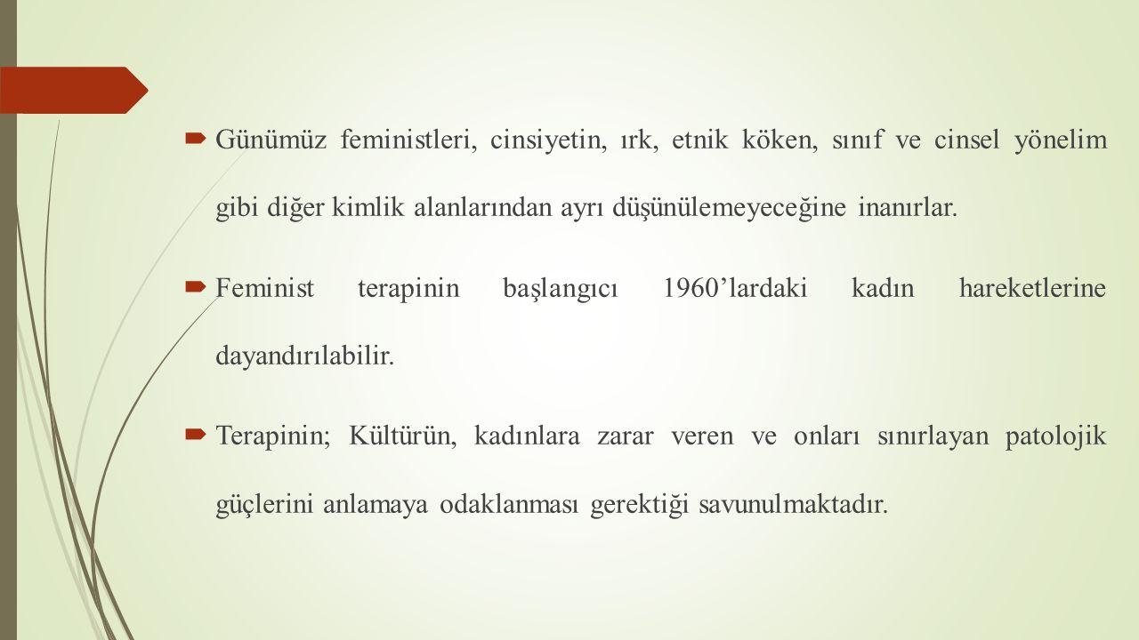 Günümüz feministleri, cinsiyetin, ırk, etnik köken, sınıf ve cinsel yönelim gibi diğer kimlik alanlarından ayrı düşünülemeyeceğine inanırlar.