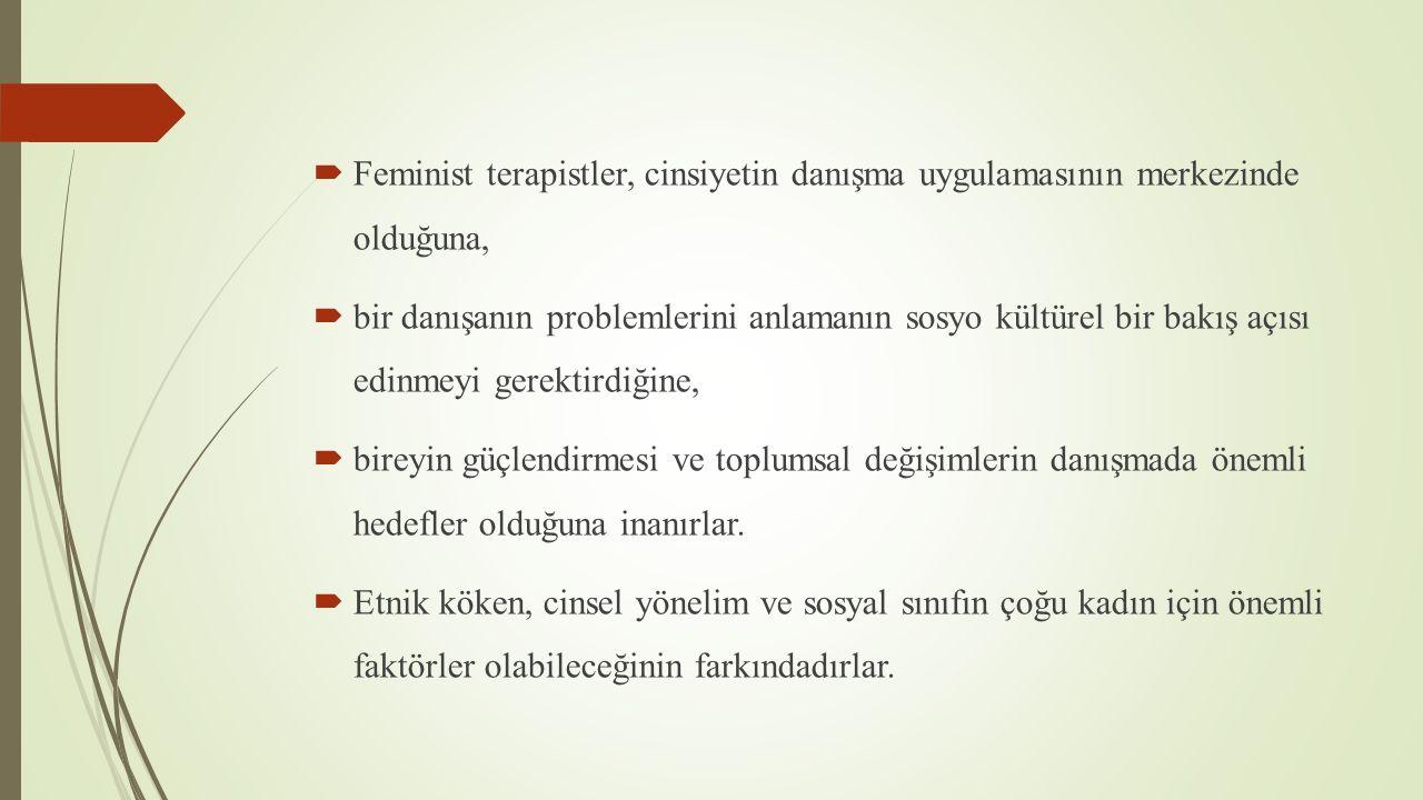Feminist terapistler, cinsiyetin danışma uygulamasının merkezinde olduğuna,