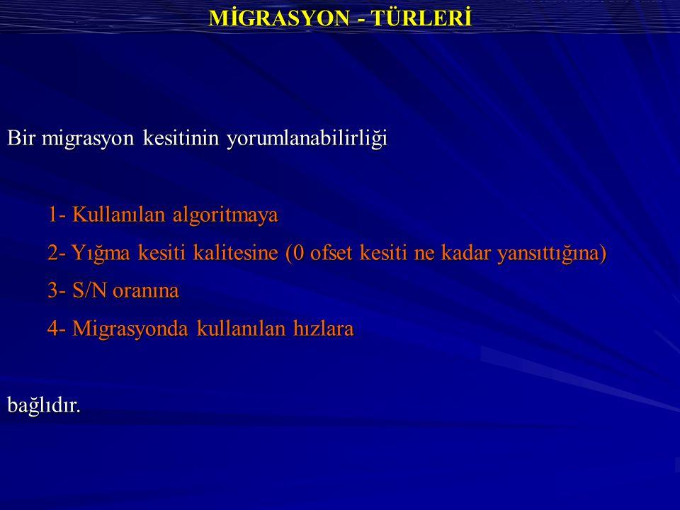 MİGRASYON - TÜRLERİ Bir migrasyon kesitinin yorumlanabilirliği. 1- Kullanılan algoritmaya.