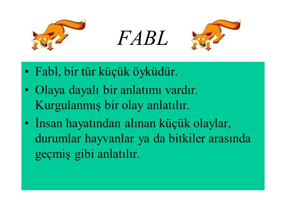 FABL Fabl, bir tür küçük öyküdür.