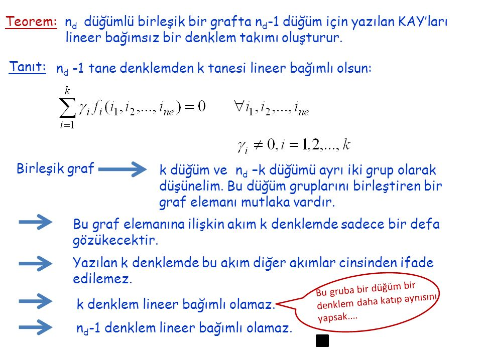 lineer bağımsız bir denklem takımı oluşturur.