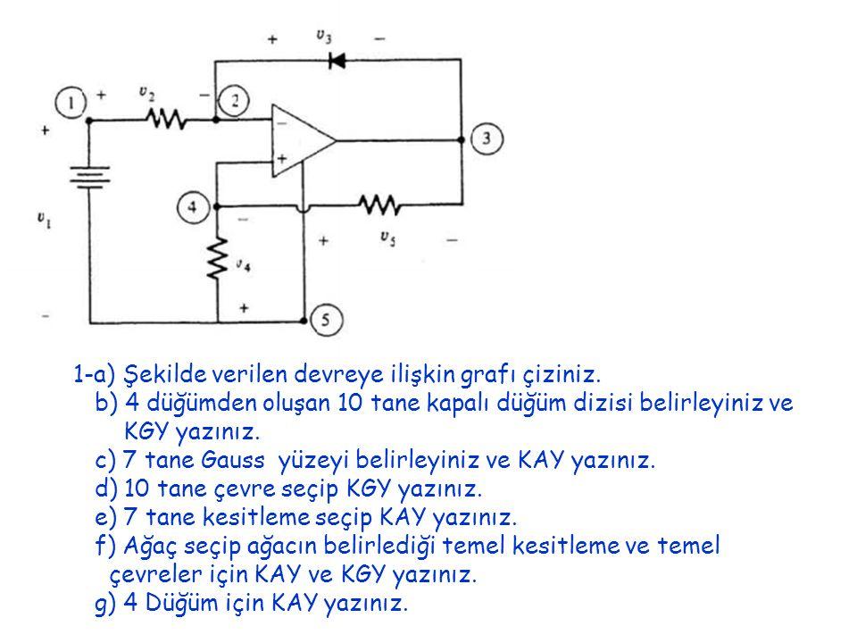 1-a) Şekilde verilen devreye ilişkin grafı çiziniz.