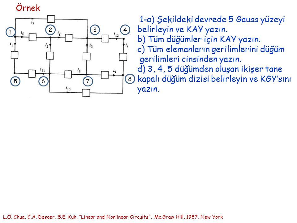 1-a) Şekildeki devrede 5 Gauss yüzeyi belirleyin ve KAY yazın.