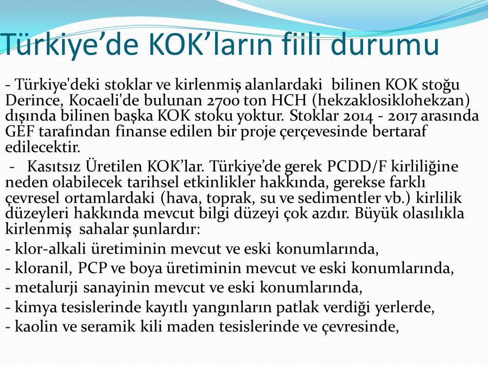 Türkiye'de KOK'ların fiili durumu