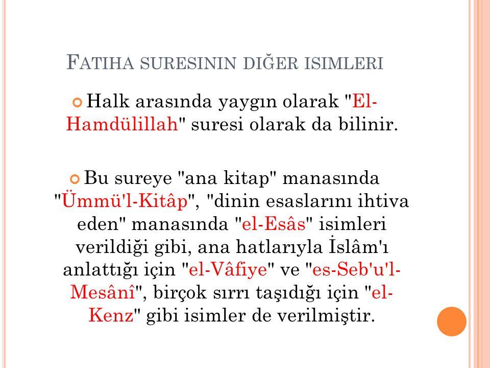 Fatiha suresinin diğer isimleri