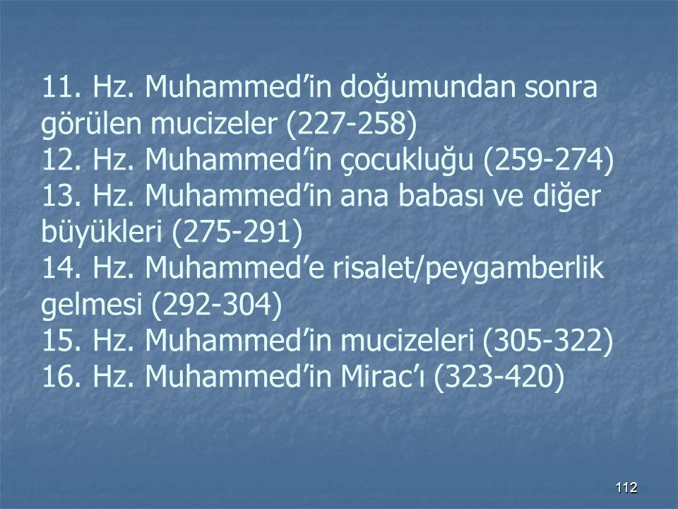 11. Hz. Muhammed'in doğumundan sonra görülen mucizeler (227-258) 12.