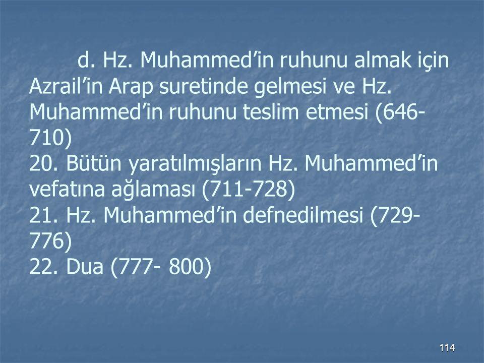 d. Hz. Muhammed'in ruhunu almak için Azrail'in Arap suretinde gelmesi ve Hz.