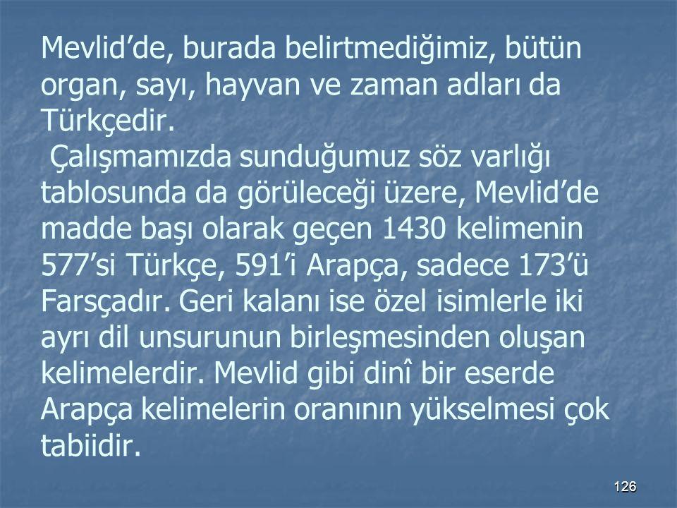 Mevlid'de, burada belirtmediğimiz, bütün organ, sayı, hayvan ve zaman adları da Türkçedir.