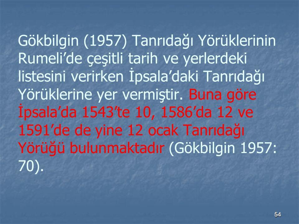 Gökbilgin (1957) Tanrıdağı Yörüklerinin Rumeli'de çeşitli tarih ve yerlerdeki listesini verirken İpsala'daki Tanrıdağı Yörüklerine yer vermiştir.