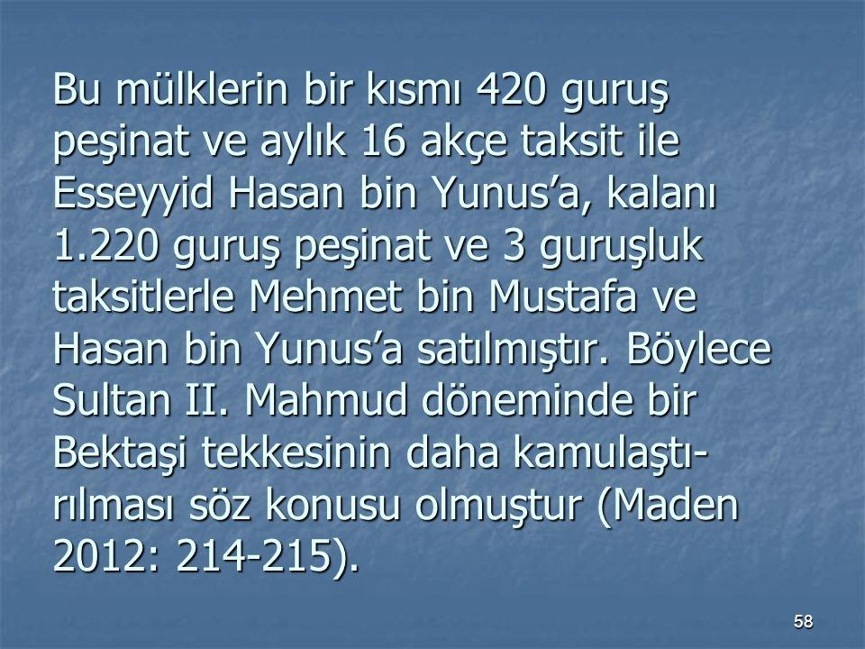 Bu mülklerin bir kısmı 420 guruş peşinat ve aylık 16 akçe taksit ile Esseyyid Hasan bin Yunus'a, kalanı 1.220 guruş peşinat ve 3 guruşluk taksitlerle Mehmet bin Mustafa ve Hasan bin Yunus'a satılmıştır.