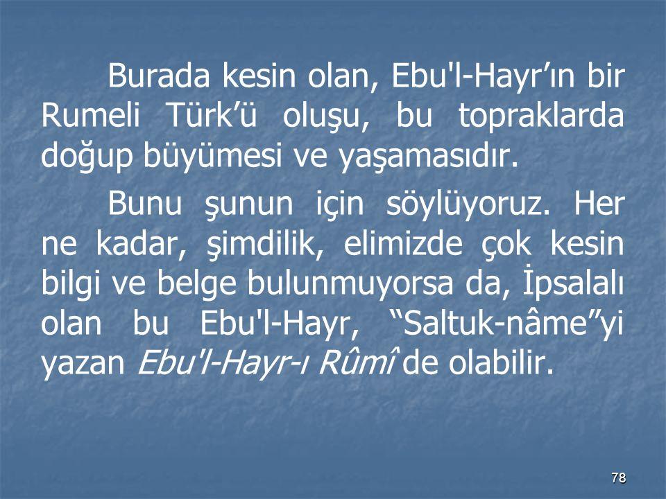 Burada kesin olan, Ebu l-Hayr'ın bir Rumeli Türk'ü oluşu, bu topraklarda doğup büyümesi ve yaşamasıdır.