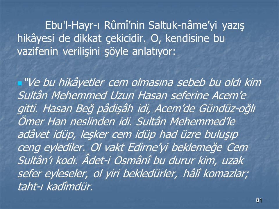 Ebu l-Hayr-ı Rûmî'nin Saltuk-nâme'yi yazış hikâyesi de dikkat çekicidir. O, kendisine bu vazifenin verilişini şöyle anlatıyor:
