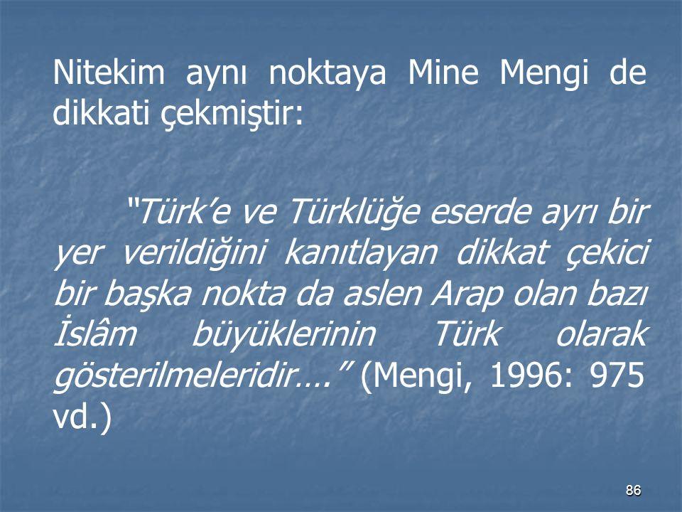 Nitekim aynı noktaya Mine Mengi de dikkati çekmiştir: