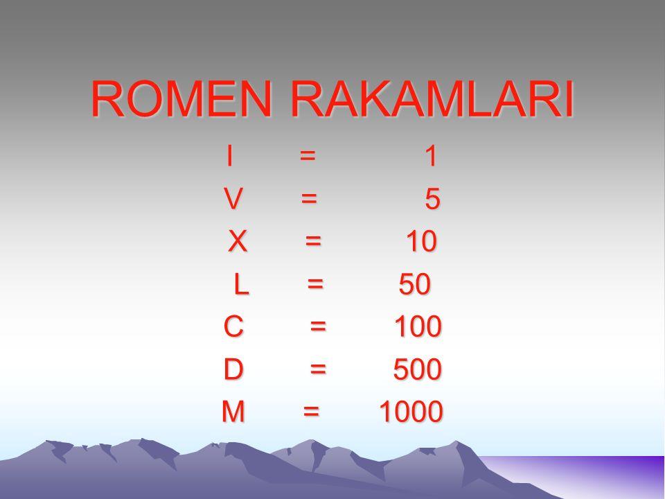 ROMEN RAKAMLARI I = 1. V = 5. X = 10. L = 50.