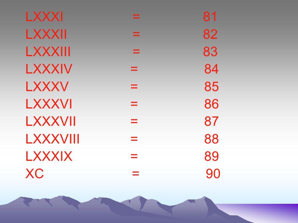 LXXXI = 81 LXXXII = 82. LXXXIII = 83.
