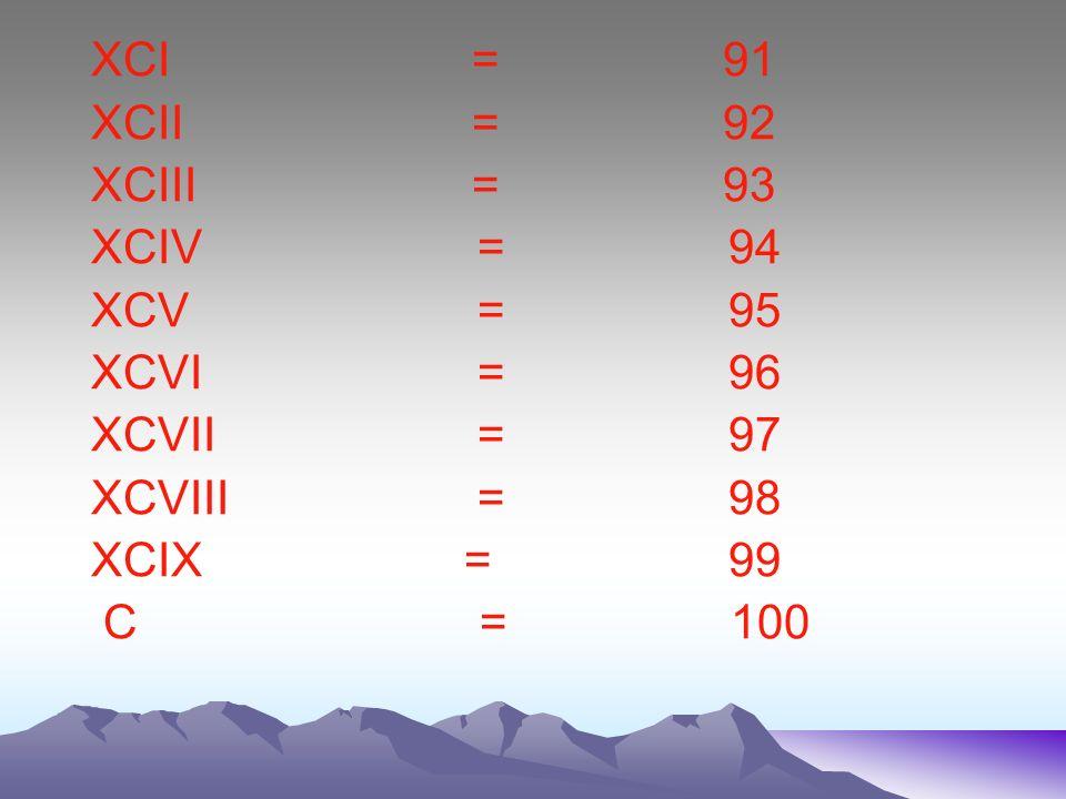 XCI = 91 XCII = 92. XCIII = 93.