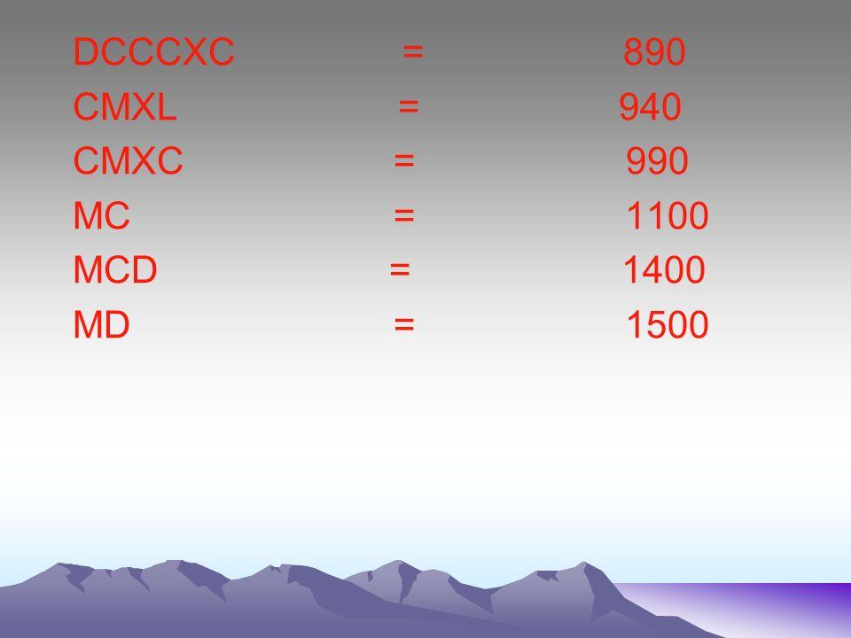 DCCCXC = 890 CMXL = 940. CMXC = 990.