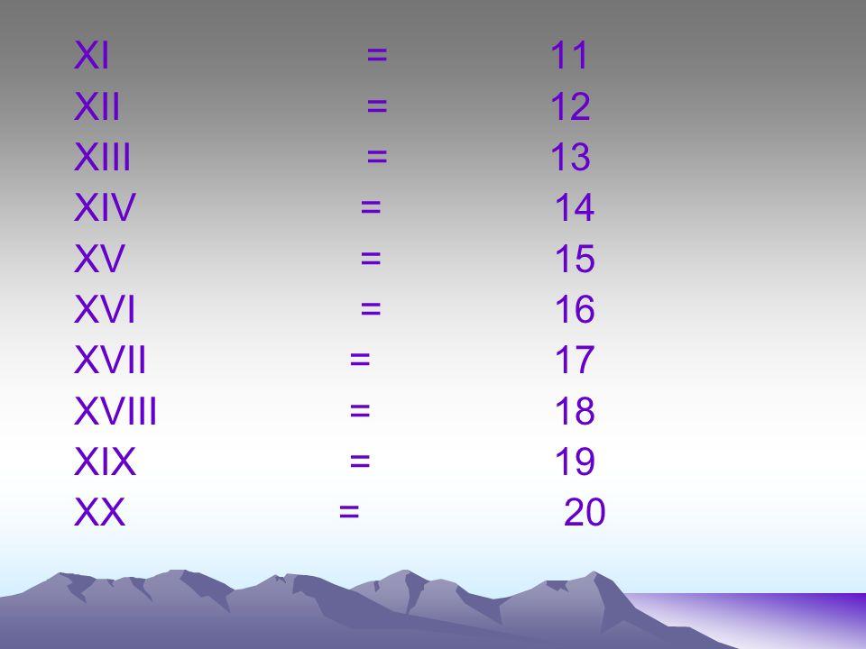 XI = 11 XII = 12. XIII = 13.