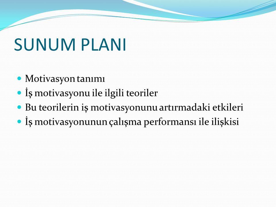 SUNUM PLANI Motivasyon tanımı İş motivasyonu ile ilgili teoriler